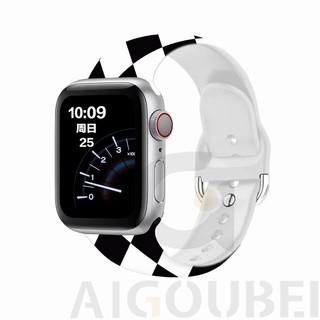 Apple Watch 系列方扣黑白格子矽膠錶帶 5 4 3 2 1 適用於 Iwatch 錶帶的黑白格子錶帶 38mm