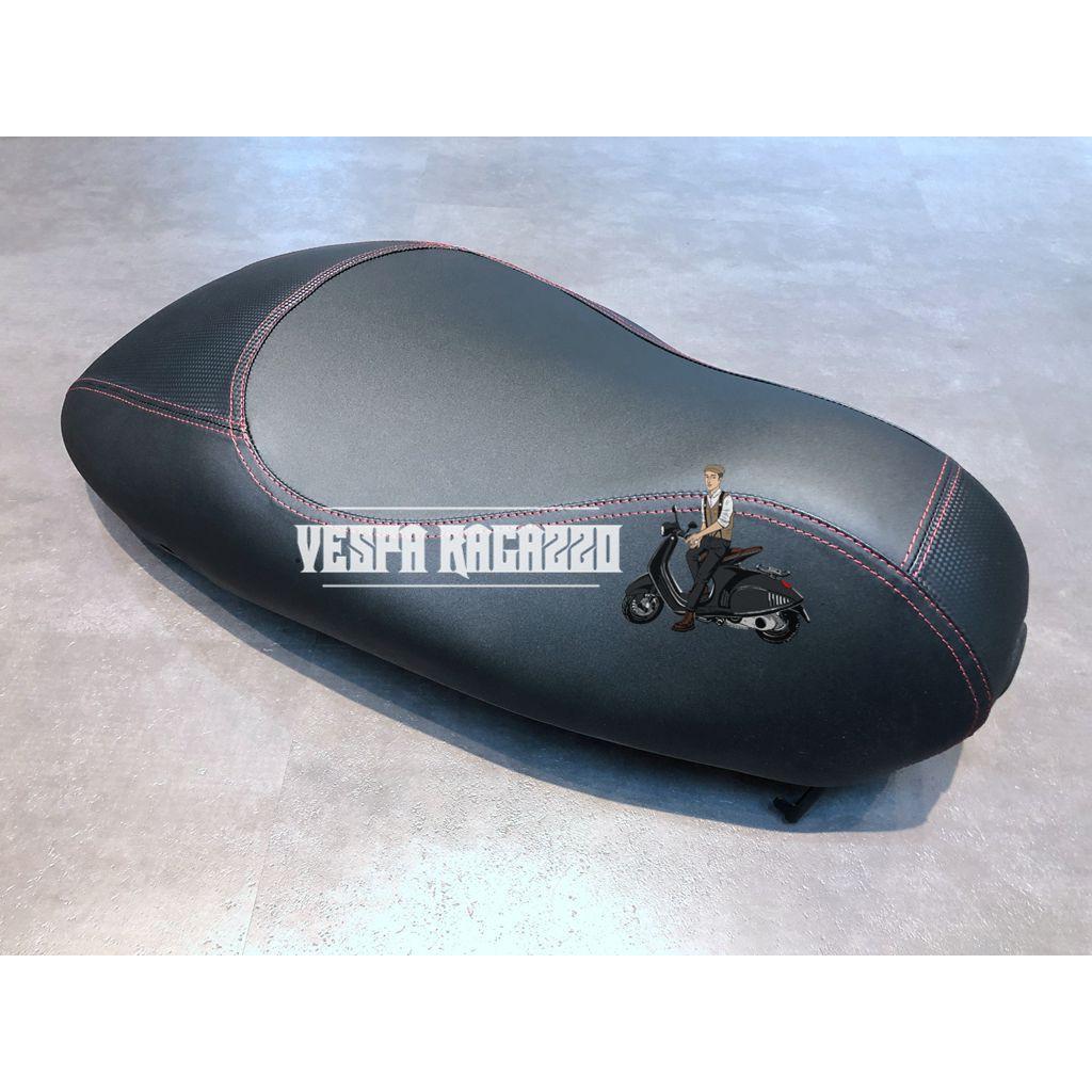 【VESPA RAGAZZO】VESPA 春天 衝刺 碳纖維特仕板 單人賽車座椅 賽車座店 黑皮紅邊