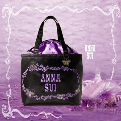 ★JS日雜附錄★ Anna Sui 經典 刺繡 黑色 紫色 大容量 束口 購物袋 單肩包