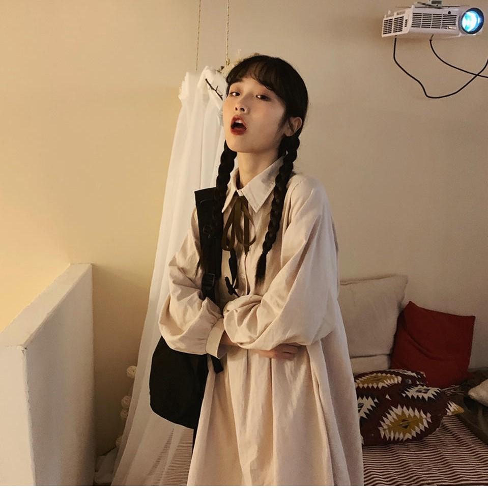 春夏新款【27152】襯衫裙 长袖洋装 絲帶可拆連衣裙 中长款裙子