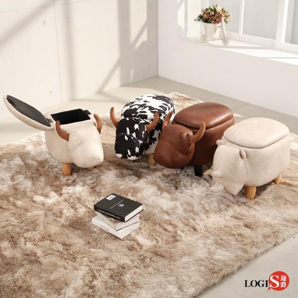 AD01Z 兩用~可愛牛動物家族掀蓋收納椅 矮凳 沙發凳