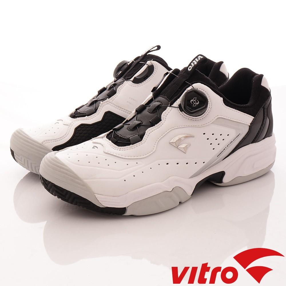韓國VITRO專業運動-TENNIS-DURNSFORD系列頂級專業網球鞋-白/黑(男)