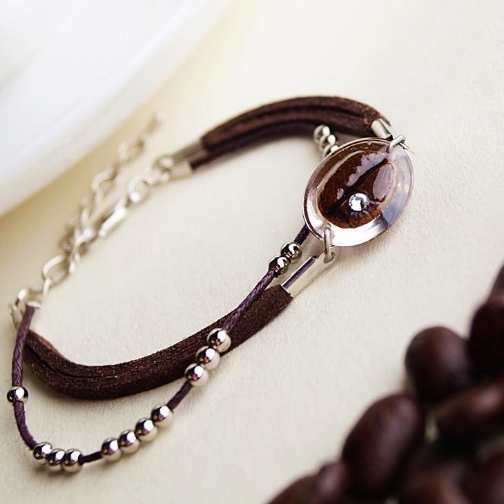 咖啡豆手鍊A款 - 真實咖啡豆創作  手鍊 手環 咖啡豆 飾品 咖啡 禮物 畢業禮物 生日禮物 結婚禮物