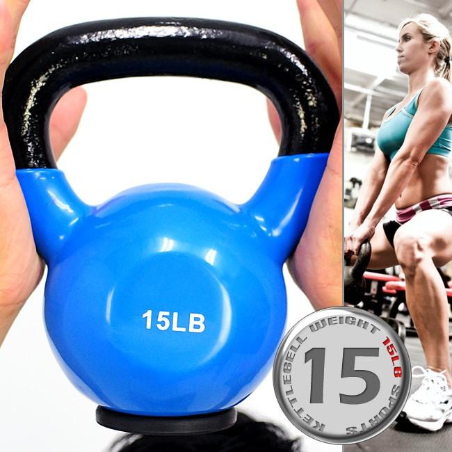 包膠15磅壺鈴(實心鑄鐵+橡膠底座)C113-2015浸膠15LB拉環啞鈴6.8KG搖擺鈴6.8公斤舉重量訓練