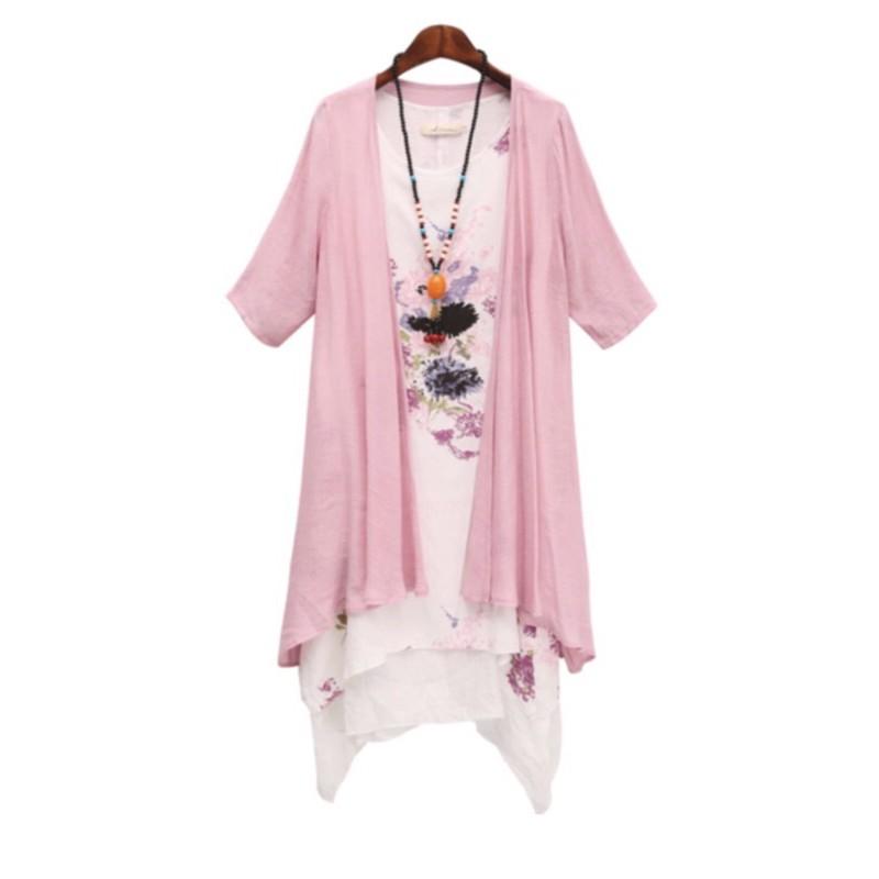 編號550棉麻全新現貨雙層背心長裙+外搭衣(兩件式)