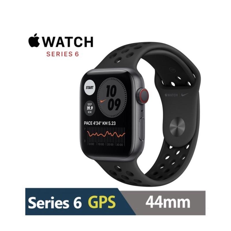 【Apple 蘋果】Apple Watch Series6 44公釐 GPS版(鋁金屬錶殼搭配Nike運動錶帶)