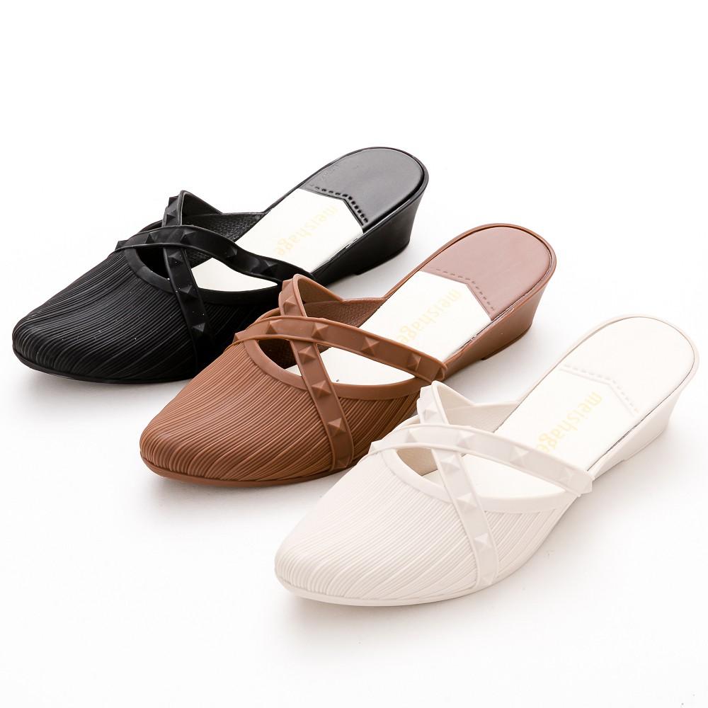 防水鞋River&Moon歐美交叉鉚釘尖頭穆勒楔型鞋