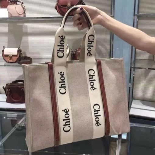 21春夏正品Chloe Medium Woody tote 購物包 Chloe tote bag帆布托特包 深藍 咖啡