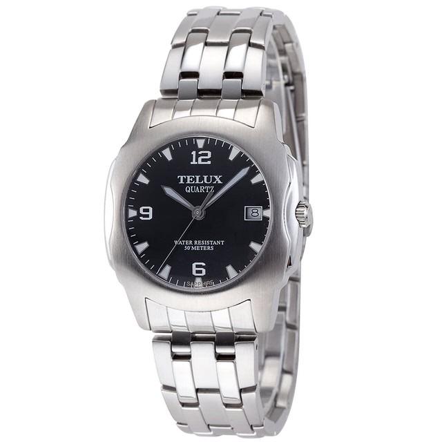 台灣品牌手錶腕錶【TELUX鐵力士】非凡卓越伯爵系列男腕錶40mm台灣製造石英錶7929W-BK11鋼帶黑面