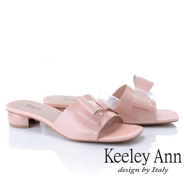 Keeley Ann 時尚膠片 蝴蝶結膠片造型圓跟拖鞋(粉紅色921772156)