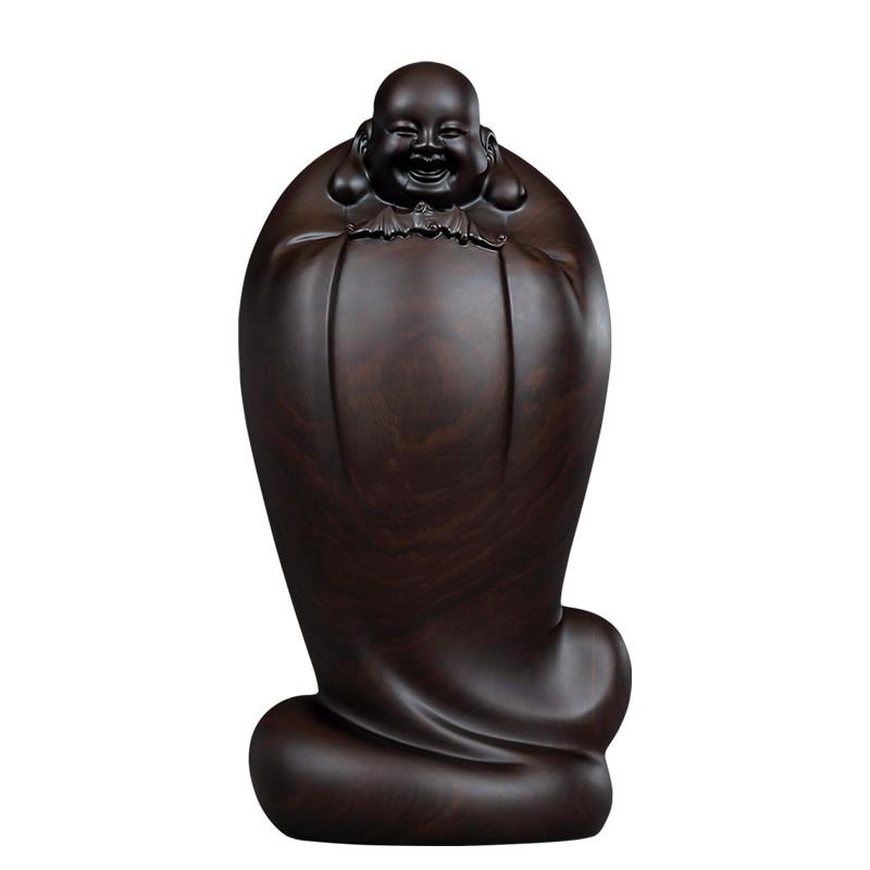 【熱銷】黃泉福大師 著名作品 皆大歡喜五福彌勒佛黑檀木雕擺件收藏藝術品【滿599出貨】 童哥家居店