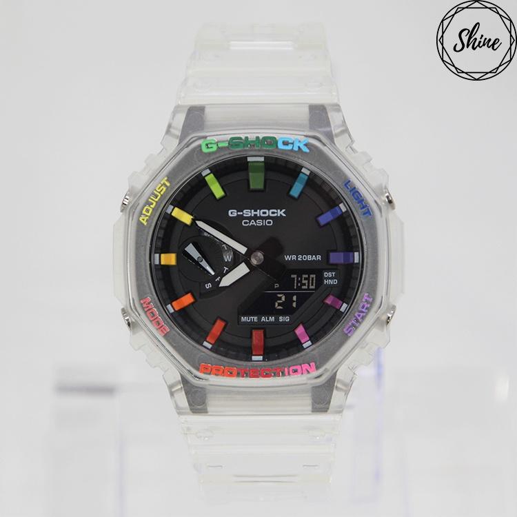 改裝 GA-2100SKE-7A 手錶 客製彩虹12刻度和錶殼字 [Shinecollectionhk]