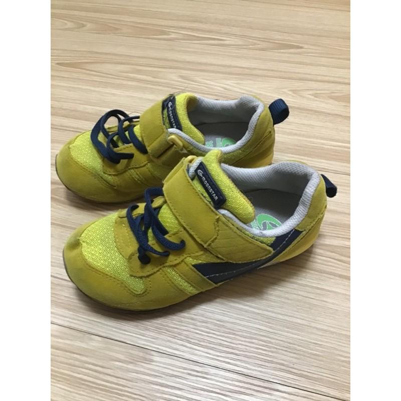 (二手)月星 moonstar HI系列 18cm 18EE 男童 芥黃色機能鞋 運動鞋 布鞋
