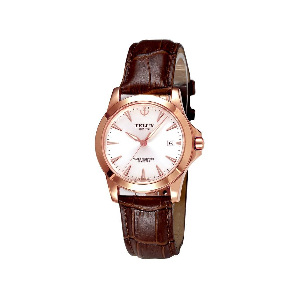 台灣品牌手錶腕錶【TELUX鐵力士】皇家爵士系列男腕錶手錶38MM台灣製造石英錶7925MGRG-W15皮帶款-另有女款