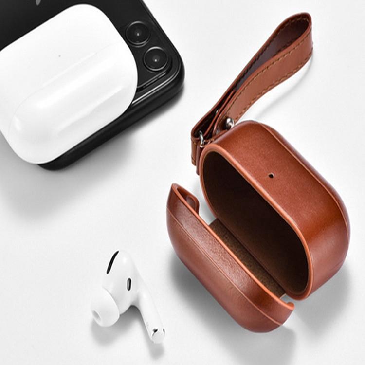 ICARER 適用於蘋果耳機3代保護殼掛繩 AirPods Pro真皮保護套 耳機防摔存儲外殼