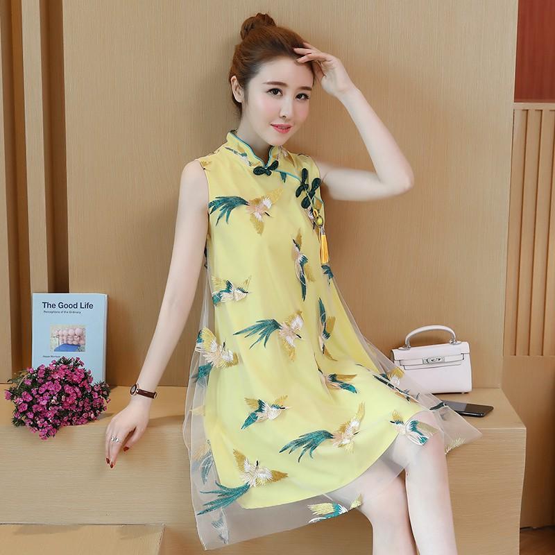 2020夏季新款復古中國風改良旗袍時尚小清新民族風寬松繡花連衣裙