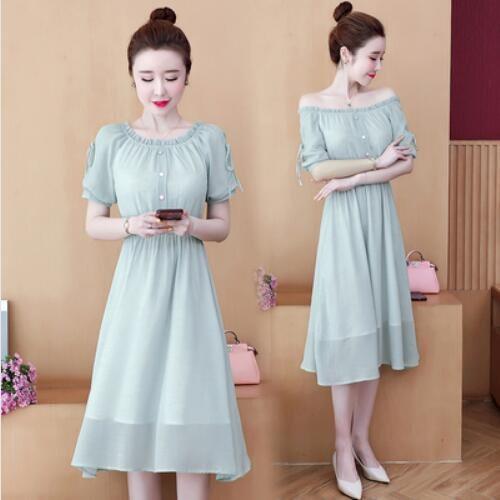 洋裝 連身裙 中大尺碼 L-5XL雪紡圓領一字肩洋氣減齡裙子NB30B-9127.胖胖美依