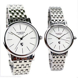 Arseprince -法式經典夜光面時尚對錶 不鏽鋼  藍寶石水晶玻璃  日本進口石英機芯 高雄市