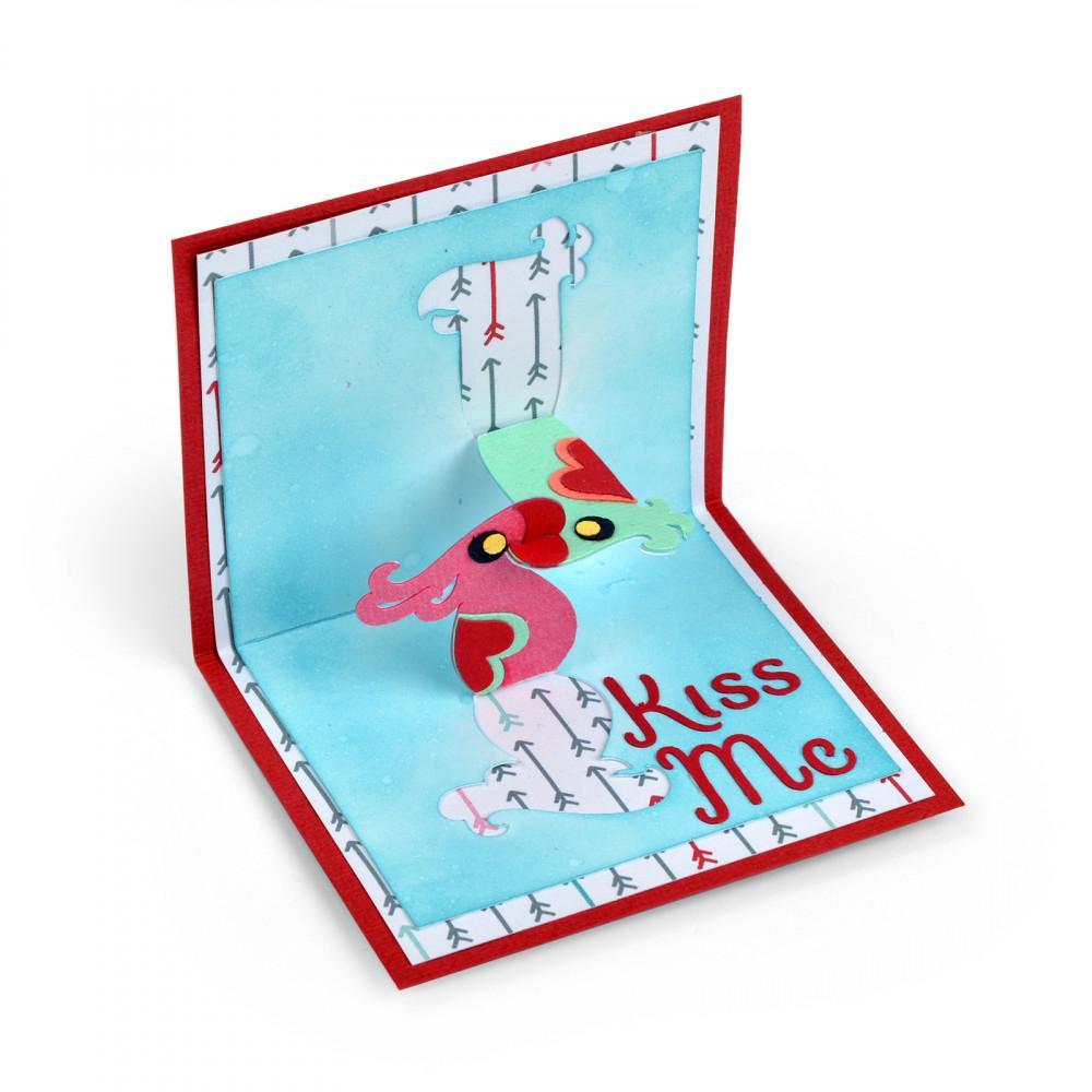 Sizzix Kiss Me 鸚鵡立體折疊卡金屬切割刀模DIY剪貼簿模板相冊照片紙卡製作工藝品剪紙卡