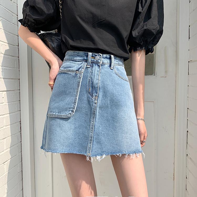 41000 春夏新款高腰大口袋牛仔半身短裙A字裙