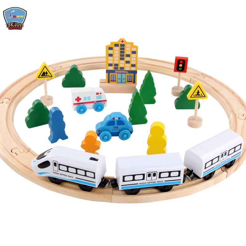 百變路軌火車軌道組兒童松木質益智早教玩具可配電動火車頭適合Tomy,好市多,湯瑪士