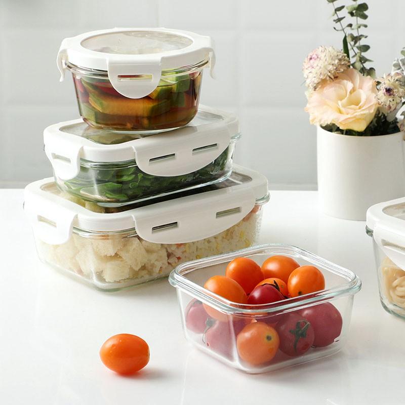 帶蓋玻璃飯盒微波爐加熱碗密封水果保鮮盒上班族帶飯便當盒