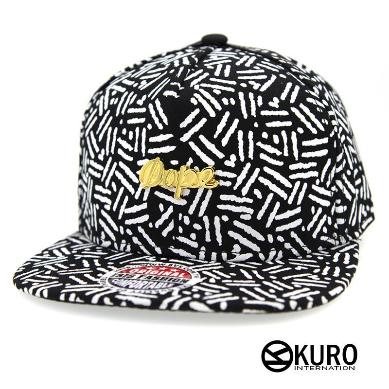 KURO-SHOP潮流新風格-黑色 白紋 草寫英文字 dope棒球帽 板帽