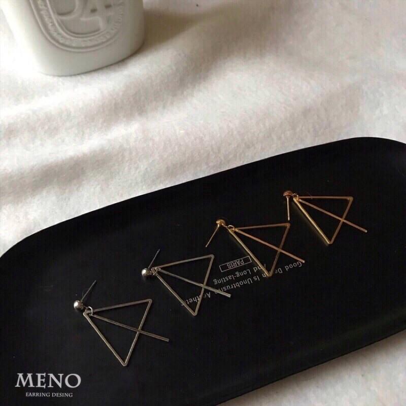 Meno 金屬三角型直條設計手工耳環 可改耳夾 防過敏耳針