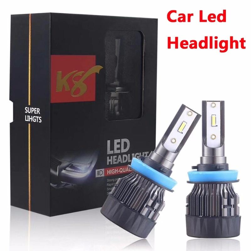 2個K8 H11 LED汽車大燈H4 9012 H7 9005 9006 7200LM CSP1860大燈霧燈