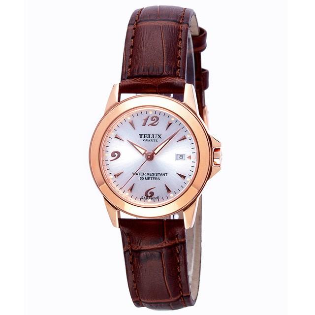 台灣品牌手錶腕錶【TELUX鐵力士】靚采女神腕錶30MM台灣製造石英錶7777GRG-W15-P金框白面皮帶-另有男款