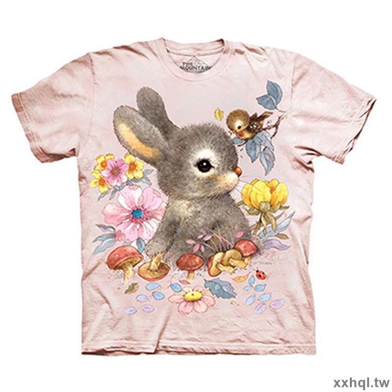 美國the mountain新款淺粉色可愛灰兔短袖T恤兒童3D衣服