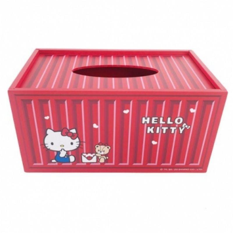 Hello Kitty 木製滑蓋面紙盒 抽取式紙巾盒 衛生紙盒