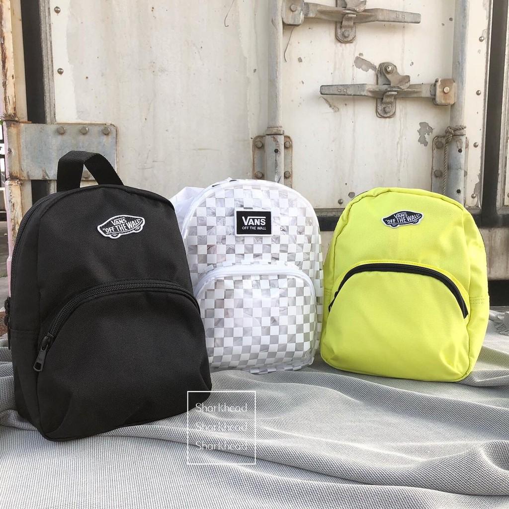 【Sharkhead】現貨 Vans Mini Backpack 小後背包 小包 書包 黑 透明 後背包 黃 棋盤格 白