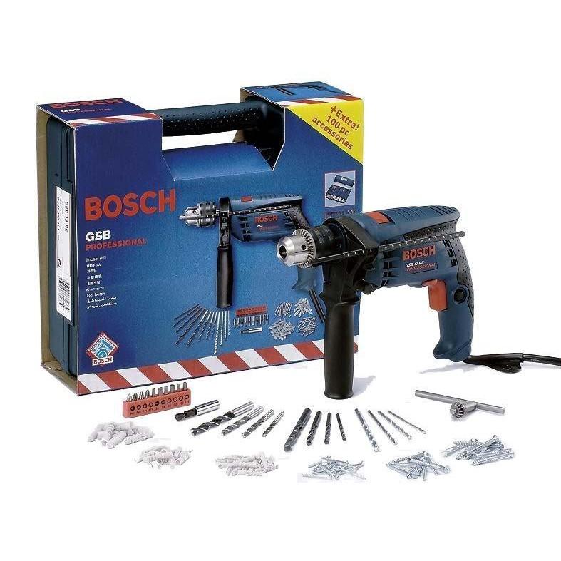 德國BOSCH GSB 13RE 附贈100件配件包 四分震動電鑽650W