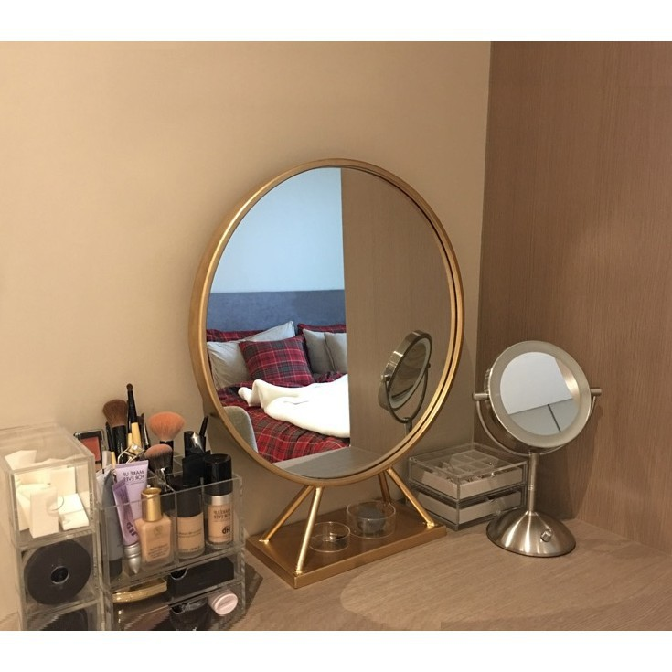 優家家居 鏡子 化妝鏡 梳妝鏡 美容鏡 浴室鏡圓形鏡 北歐 金色 化妝鏡子 圓形 臺式創意 公主梳妝臺鏡 臥室