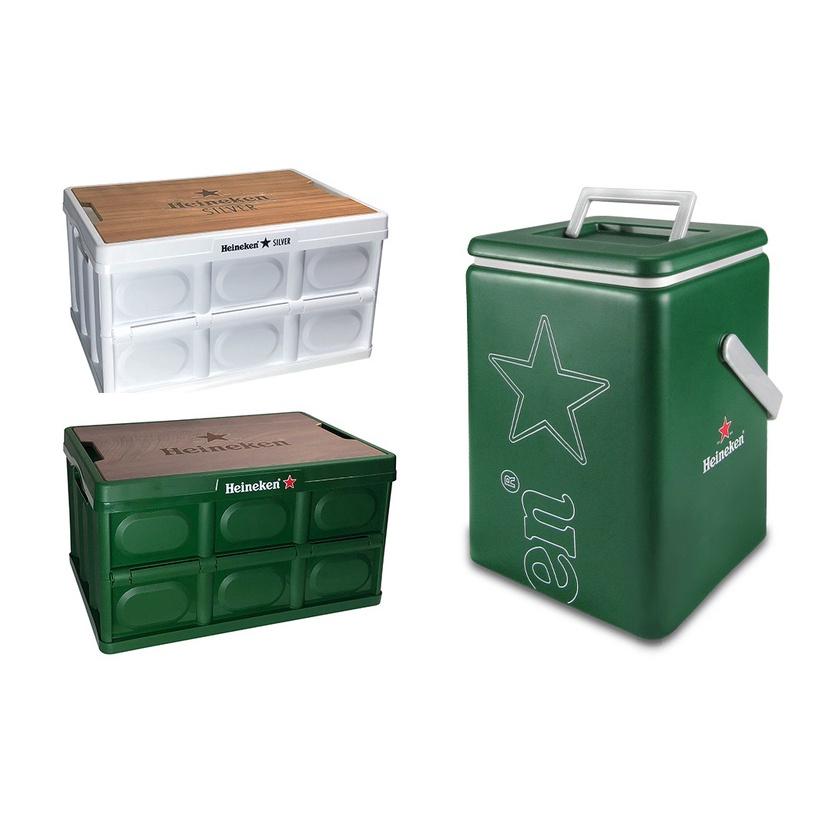 【HENRY社長】Heineken 海尼根 全星野營摺疊收納桌 收納箱 全星銀保冰桶 零酒精