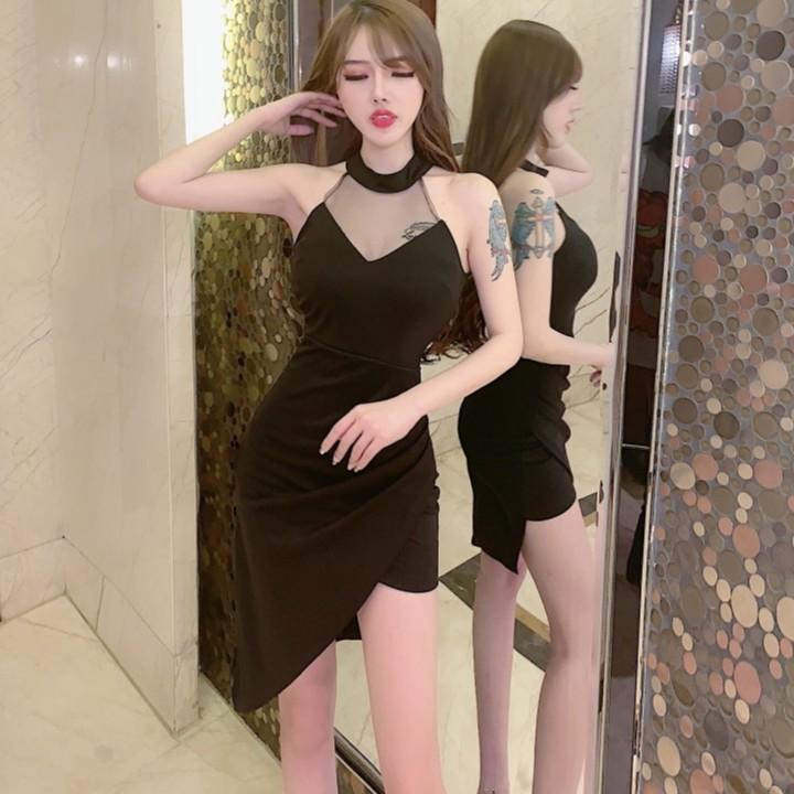 透視顯胸性感夜店洋裝 削肩洋裝 掛脖無袖彈力緊身洋裝包臀連身裙 宴會小禮服