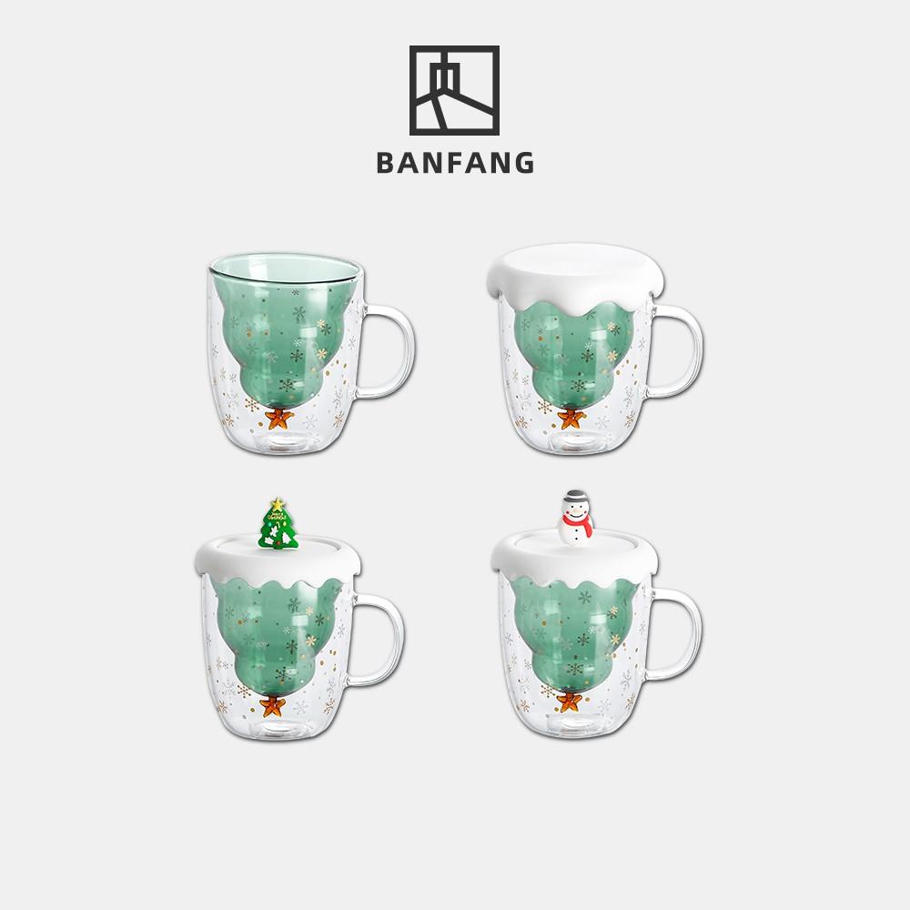 半房 聖誕玻璃杯雙層耐熱防燙帶把帶蓋水杯可愛家用ins高顏值杯子