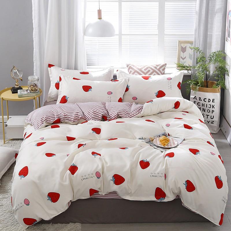 【現貨】床包四件組 雙人/加大雙人床包四件組 單人床包組 被罩被單組床單組薄被套枕頭套枕套被單4件組 小清新 草莓派
