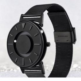 恆圓EONE手錶男磁懸浮創意概念磁力鋼珠盲人蟲洞概念手錶BR-BLK 紅點大獎觸摸知時間瑞士Ronda機芯