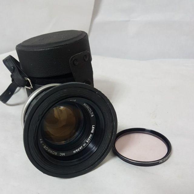 Minolta 58mm f1.4 美樂達 手動 鏡頭 大光圈送遮光罩 保護鏡 鏡頭袋