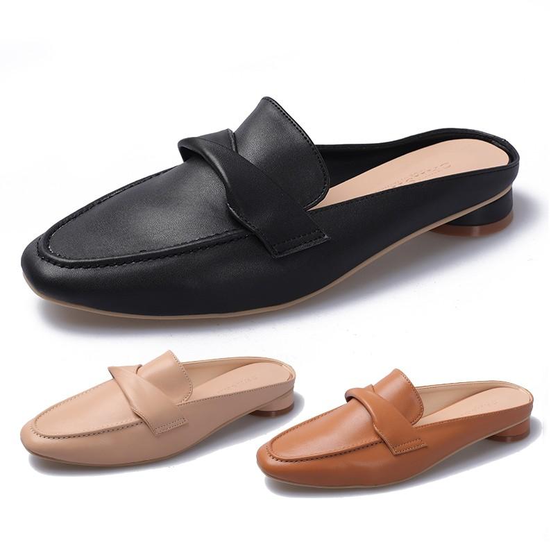 【白鳥麗子】穆勒鞋 MIT法式簡約扭結樂福圓跟方頭拖鞋