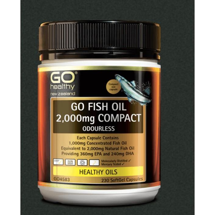 紐西蘭代購 Go Healthy Go Fish Oil 無腥味魚油高含量 2000mg 230顆 [GHY04]