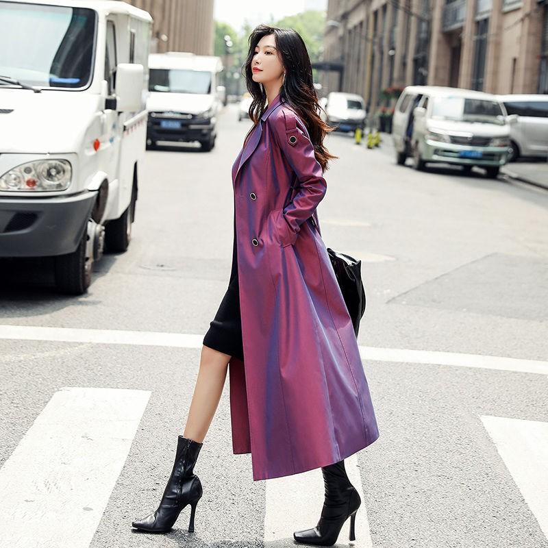 杭州高端品質2020秋季新款紫漸變色風衣女長款過2020新款女士風衣 女中長款外套 寬鬆休閒細帶女士外套 情侶外套