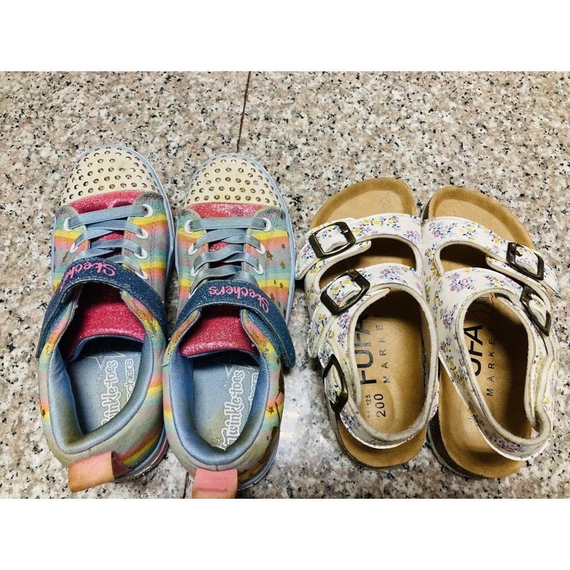 二手兒童Skechers閃燈鞋21cm➕富發牌碎花涼鞋20cm