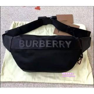二手正品Burberry Sonny 黑色 LOGO 素面 尼龍 腰包 胸口包 8025668 現貨