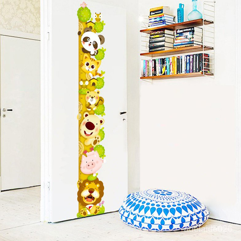 台北熱賣卡通動物爬樹身高貼兒童房裝飾客廳臥室房門貼紙測量尺自粘墻貼畫 2KlW