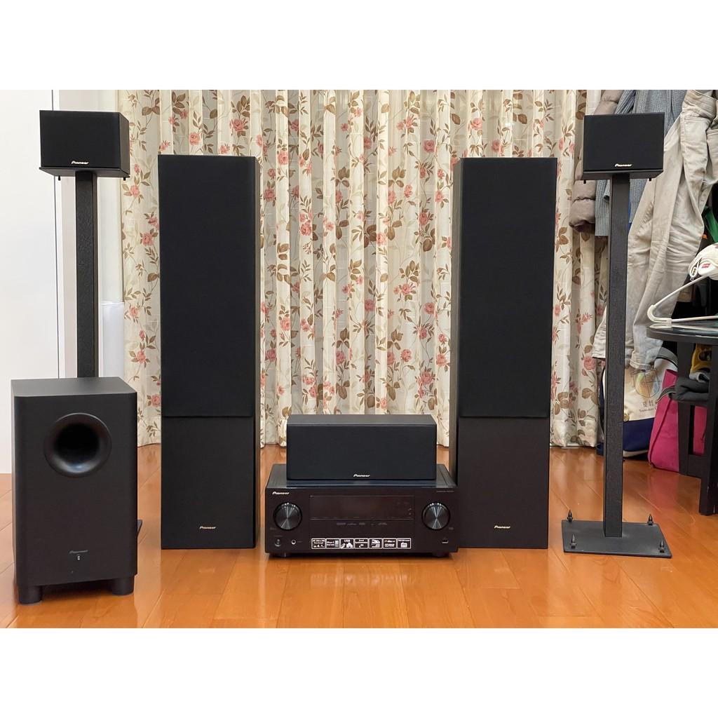Pioneer 先鋒5.1聲道 SX-323-K擴大機+S-ES21全音域5聲道喇叭+S-21W主動式重低音喇叭+腳架