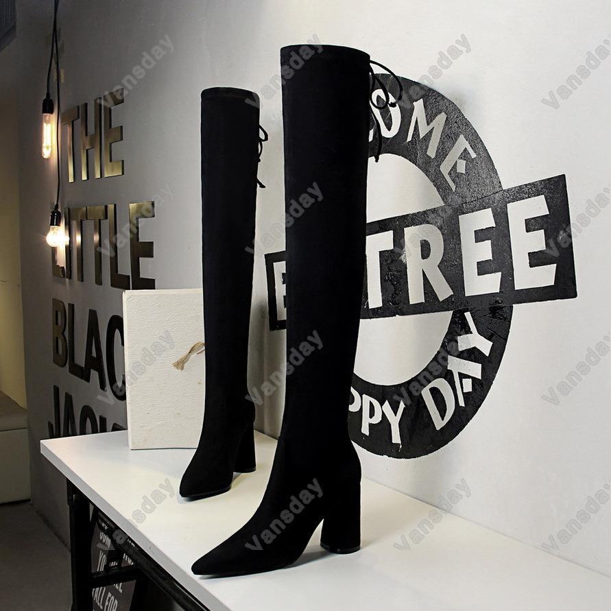 17221-3歐美秋冬時尚簡約粗跟高跟絨面尖頭性感夜店顯瘦過膝長靴 小尺碼34 40