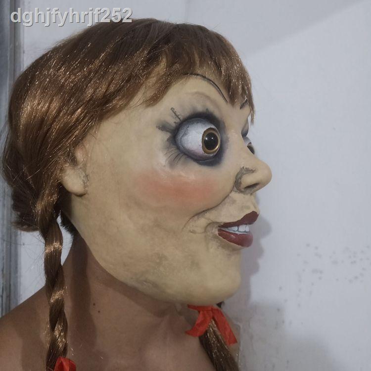 新款 促銷款☂☈萬圣節頭套cosplay安娜貝爾面具Annabelle恐怖鬼娃娃影視演出道具